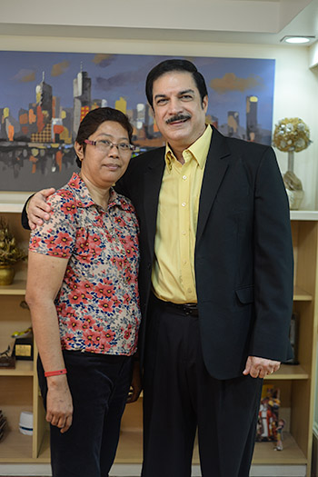 Healed from cancer: Rina Salvador-Lero with The 700 Club Asia host, Peter M. Kairuz