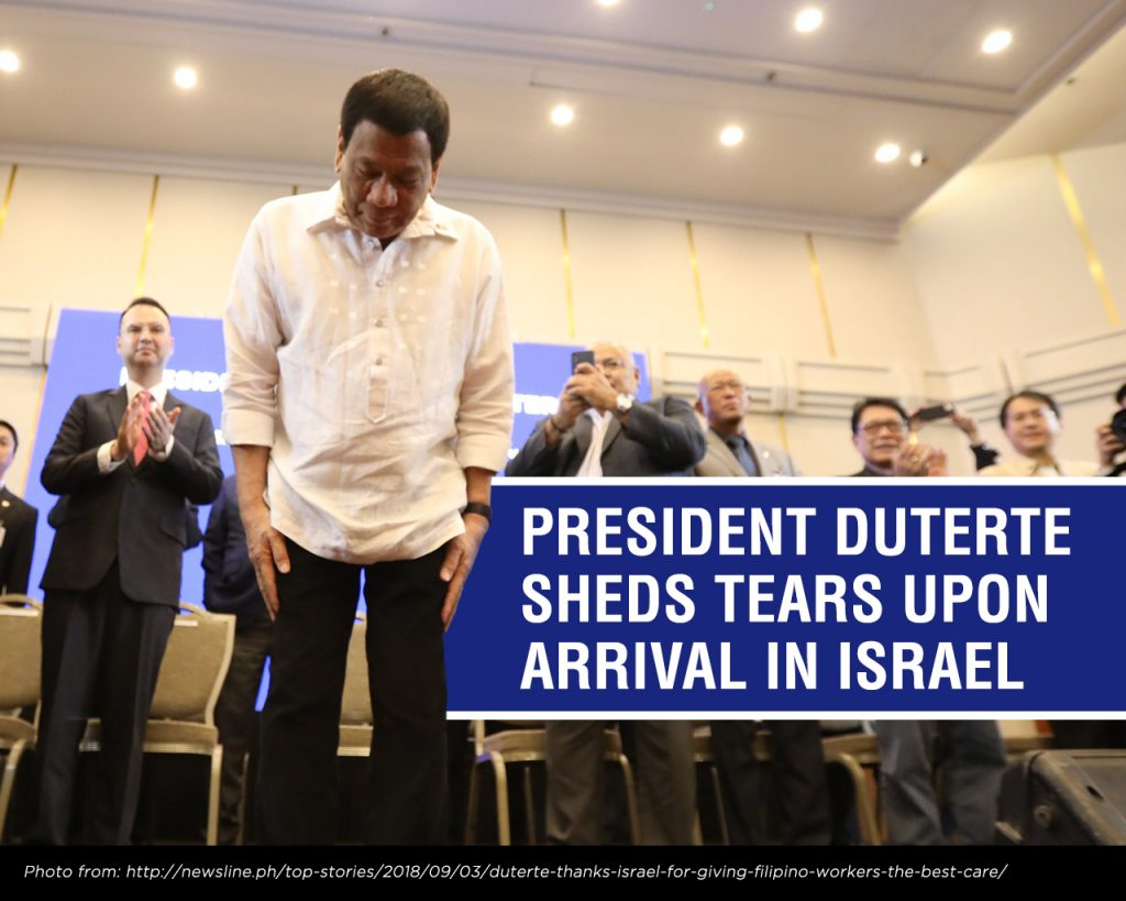 President Duterte Sheds Tears Upon Arrival in Israel