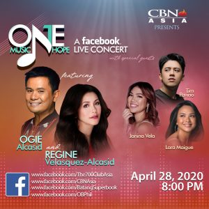 """Ogie Alcasid and Regine Velasquez to Hold a Fundraising FB Live titled """"One Music. One Hope."""""""